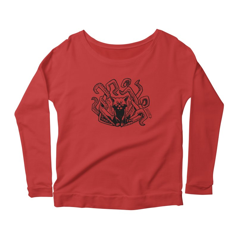 Catthulhu (Uncolored) Women's Scoop Neck Longsleeve T-Shirt by