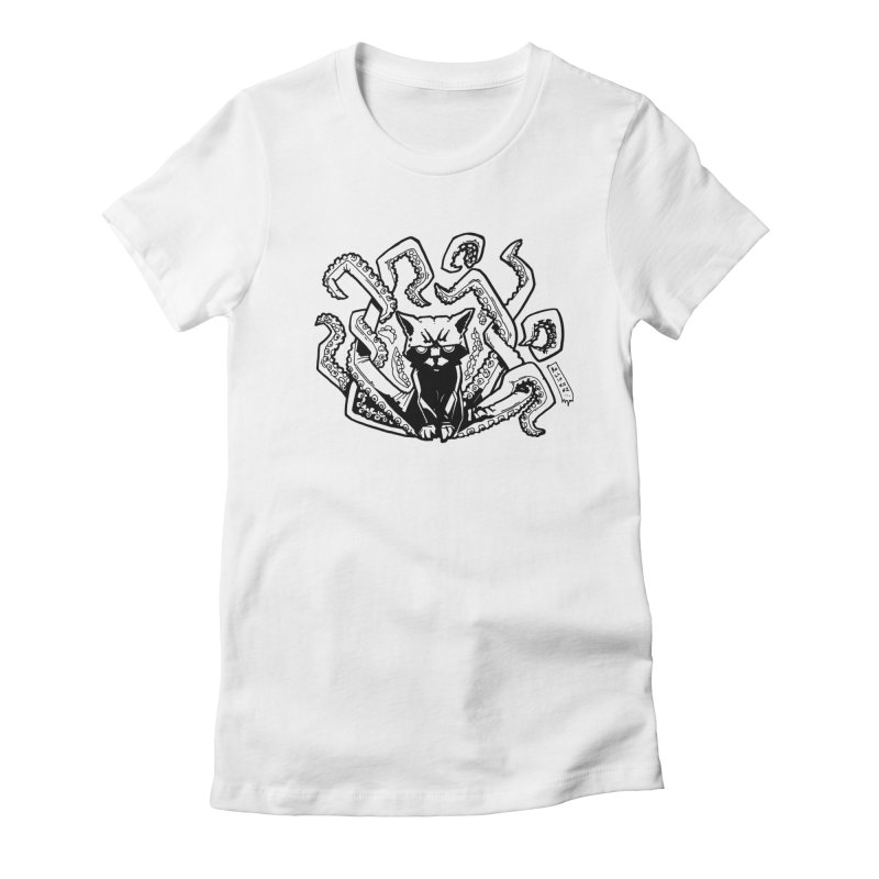 Catthulhu (Uncolored) Women's Fitted T-Shirt by