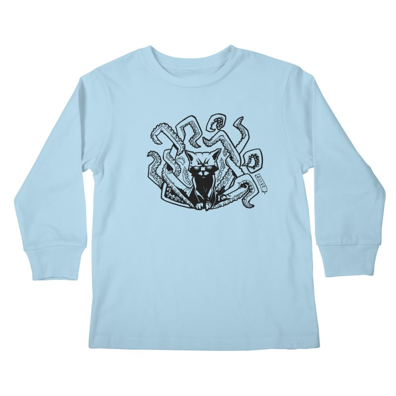 Catthulhu (Uncolored) Kids Longsleeve T-Shirt by