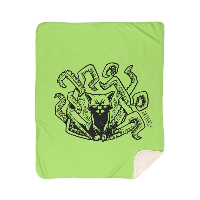 Catthulhu (Uncolored) Home Sherpa Blanket Blanket by