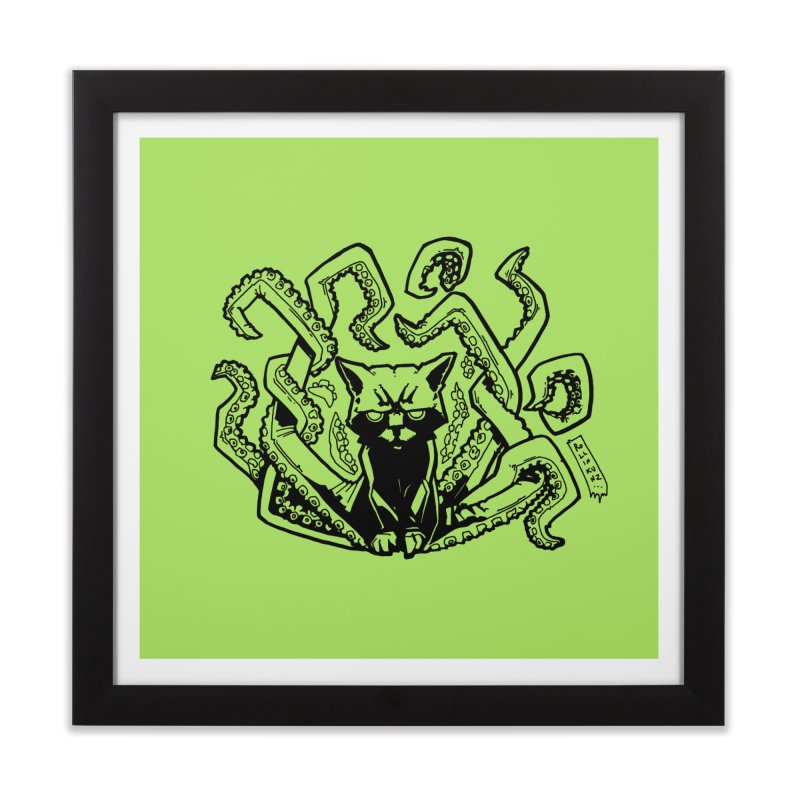 Catthulhu (Uncolored) Home Framed Fine Art Print by