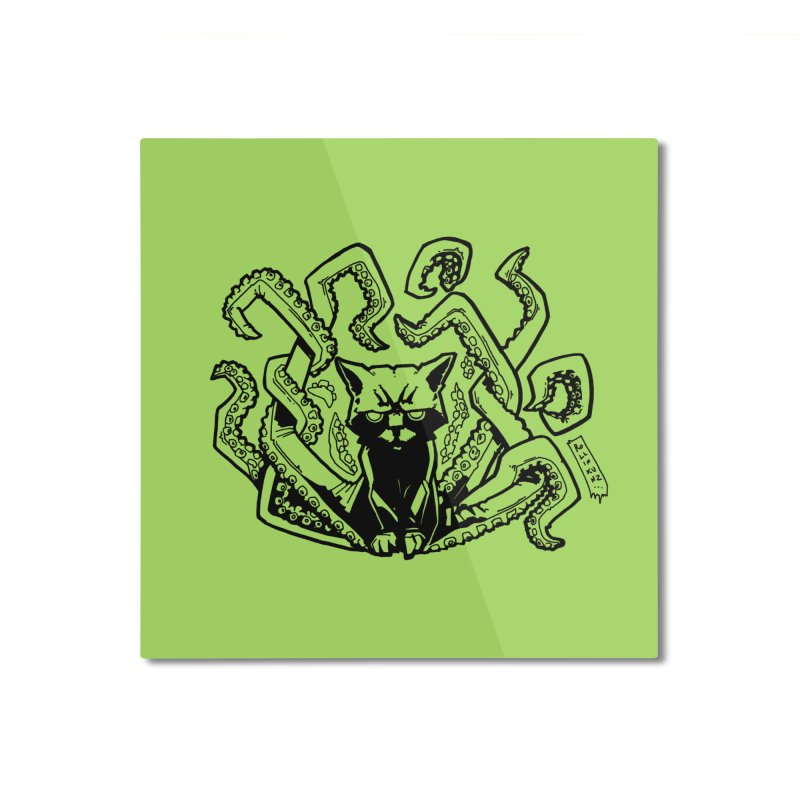 Catthulhu (Uncolored) Home Mounted Aluminum Print by