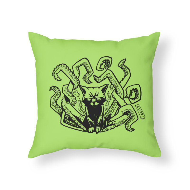 Catthulhu (Uncolored) Home Throw Pillow by
