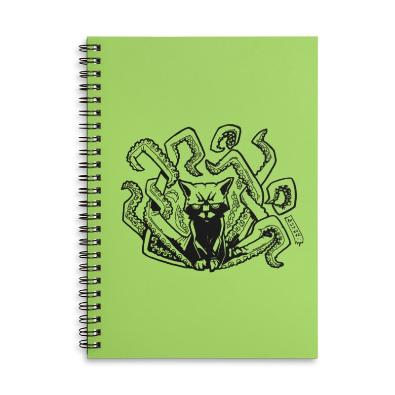 Catthulhu (Uncolored) Accessories Lined Spiral Notebook by
