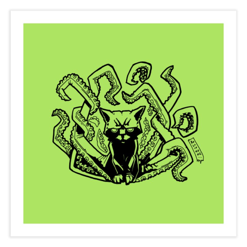 Catthulhu (Uncolored) Home Fine Art Print by