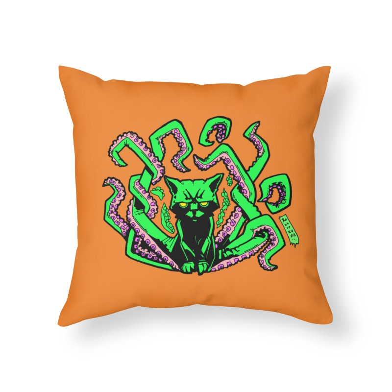 All-New Catthulhu, Now With Orange Home Throw Pillow by