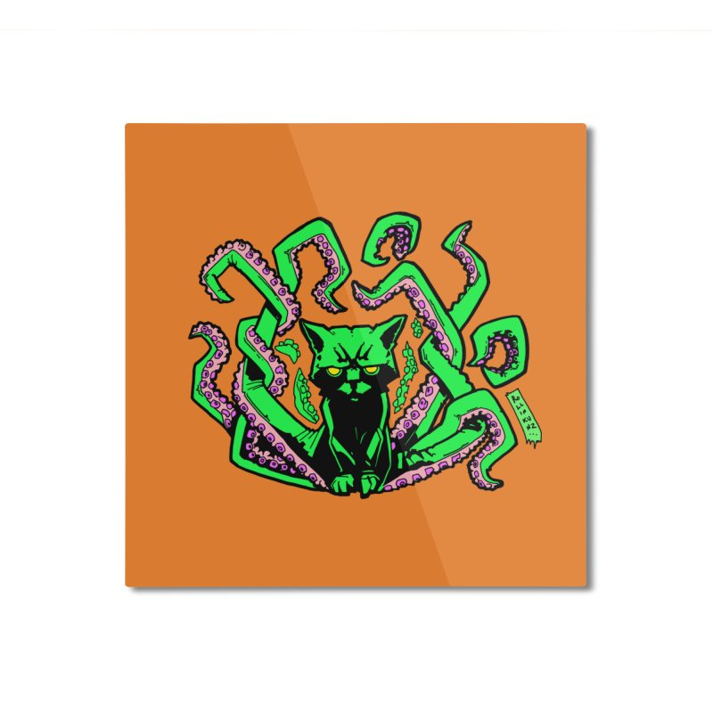 All-New Catthulhu, Now With Orange Home Mounted Aluminum Print by