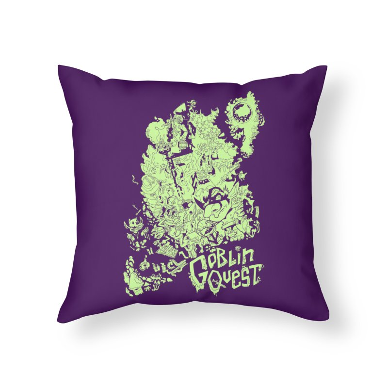 Goblin Quest - Greenie Meanie Home Throw Pillow by