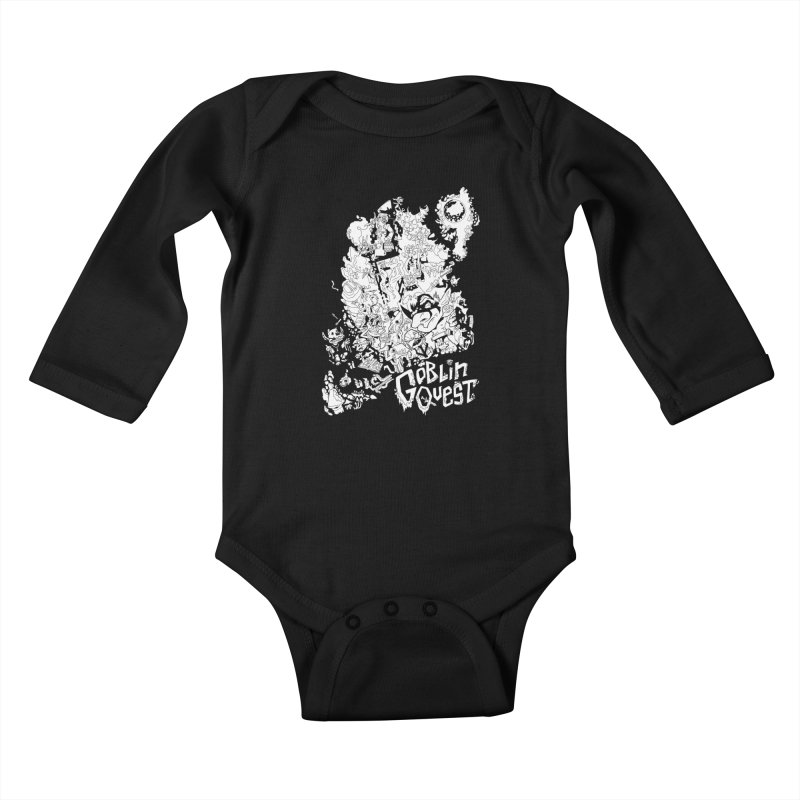 Goblin Quest - Black and white Kids Baby Longsleeve Bodysuit by