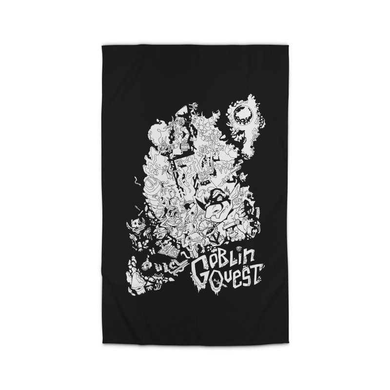 Goblin Quest - Black and white Home Rug by