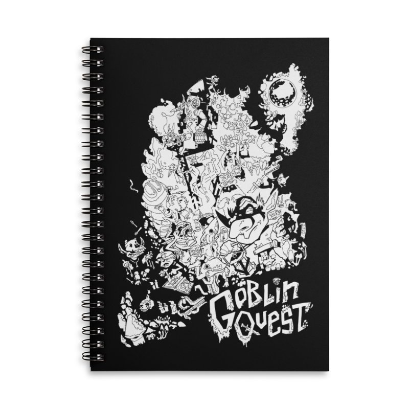 Goblin Quest - Black and white Accessories Lined Spiral Notebook by
