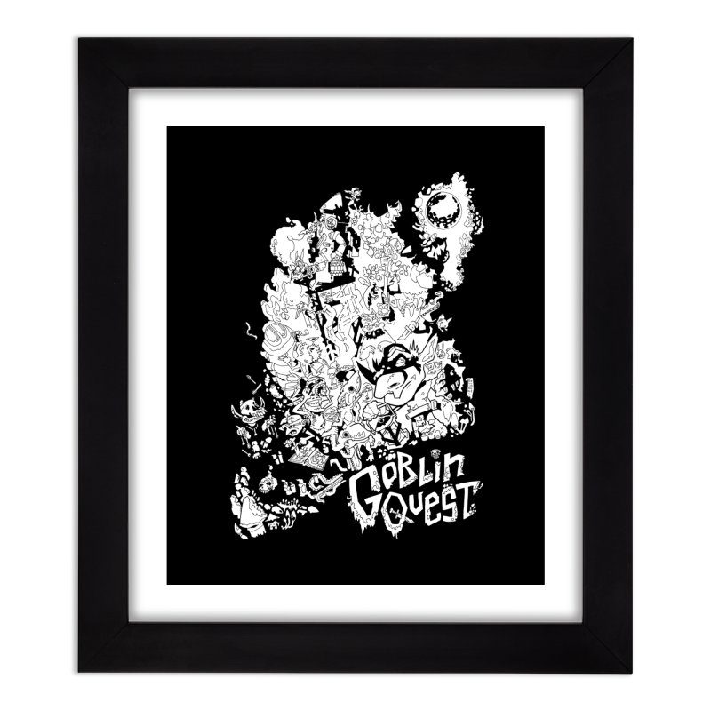 Goblin Quest - Black and white Home Framed Fine Art Print by
