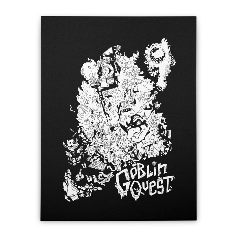Goblin Quest - Black and white Home Stretched Canvas by