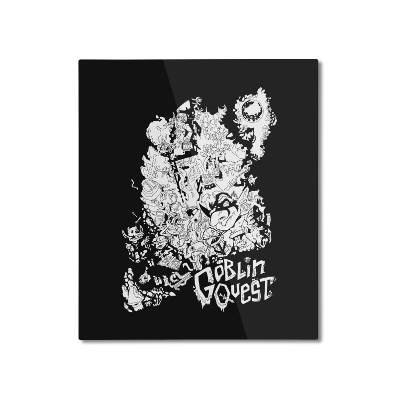 Goblin Quest - Black and white Home Mounted Aluminum Print by