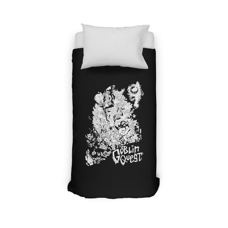 Goblin Quest - Black and white Home Duvet by
