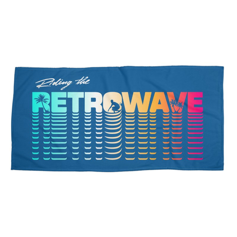Riding the Retrowave Accessories Beach Towel by Rolly Rocket - Retro Futuristic Art
