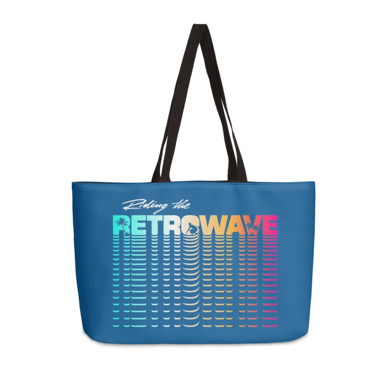 Riding the Retrowave Accessories Weekender Bag Bag by Rolly Rocket - Retro Futuristic Art