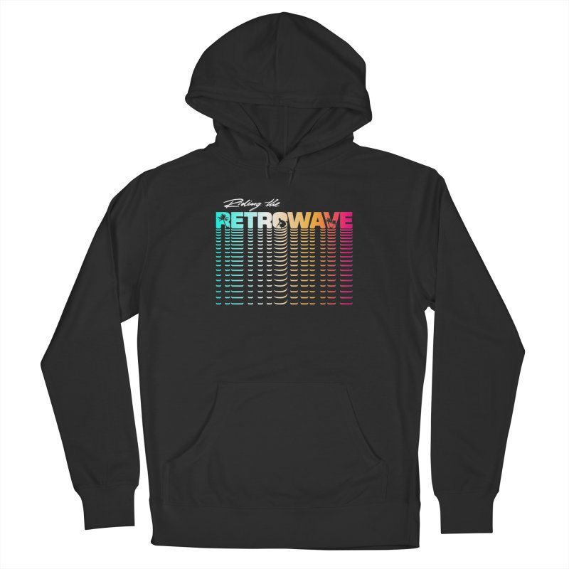 Riding the Retrowave Women's Pullover Hoody by Rolly Rocket - Retro Futuristic Art