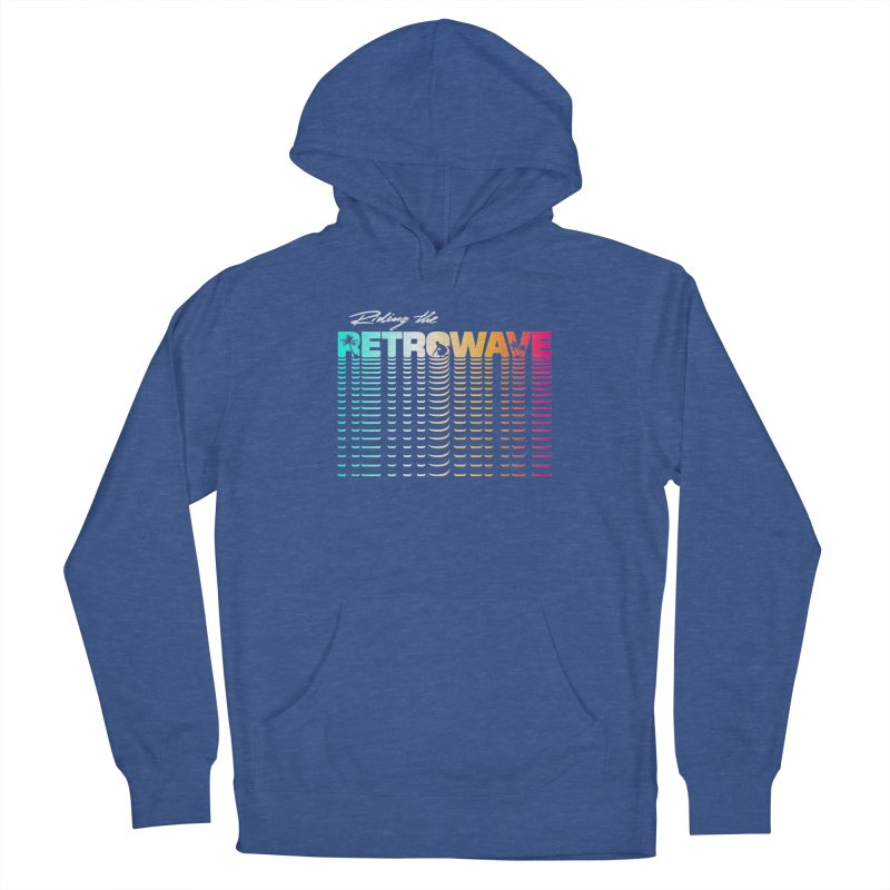 Riding the Retrowave Men's French Terry Pullover Hoody by Rolly Rocket - Retro Futuristic Art
