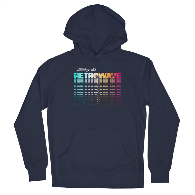 Riding the Retrowave Men's Pullover Hoody by Rolly Rocket - Retro Futuristic Art
