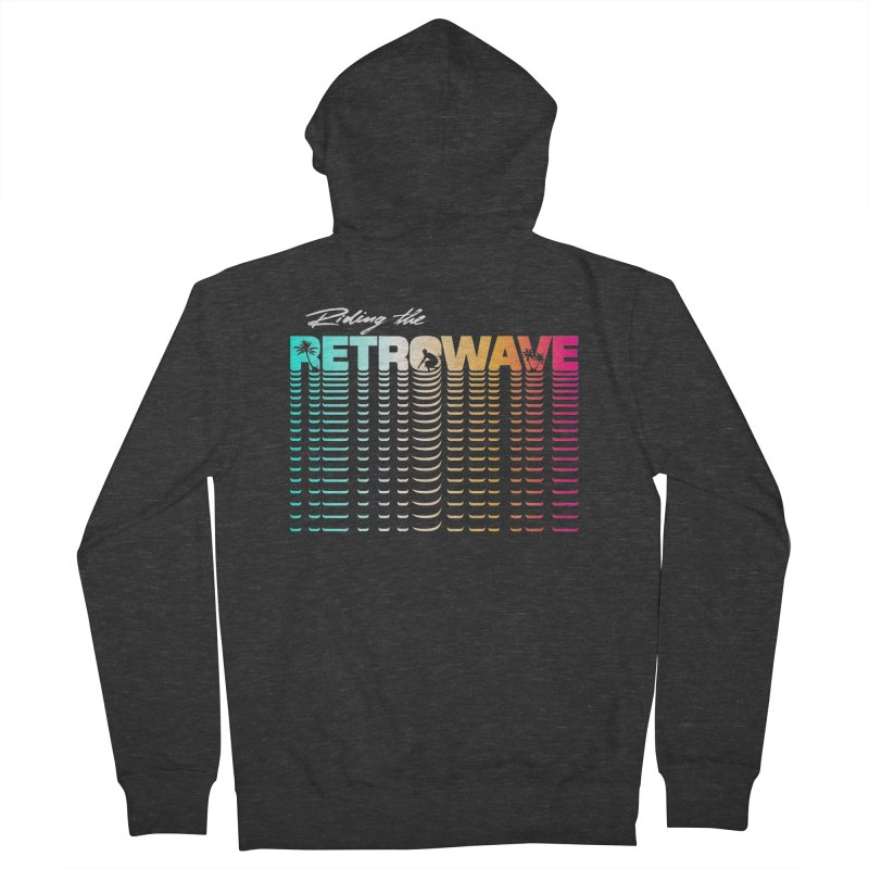 Riding the Retrowave Men's Zip-Up Hoody by Rolly Rocket - Retro Futuristic Art