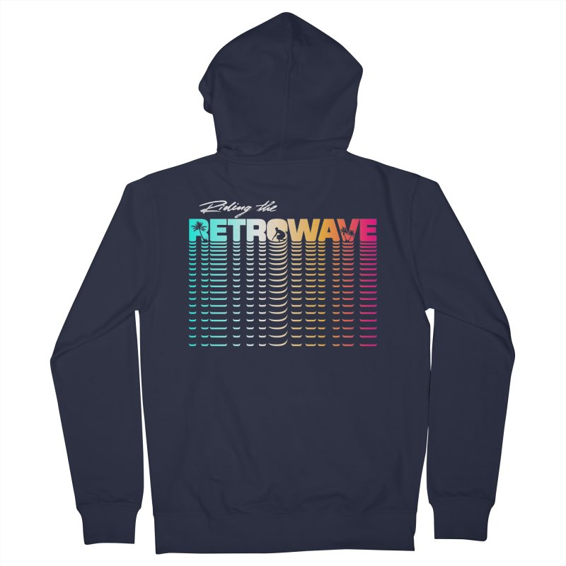 Riding the Retrowave Men's French Terry Zip-Up Hoody by Rolly Rocket - Retro Futuristic Art