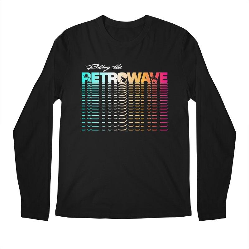 Riding the Retrowave Men's Regular Longsleeve T-Shirt by Rolly Rocket - Retro Futuristic Art