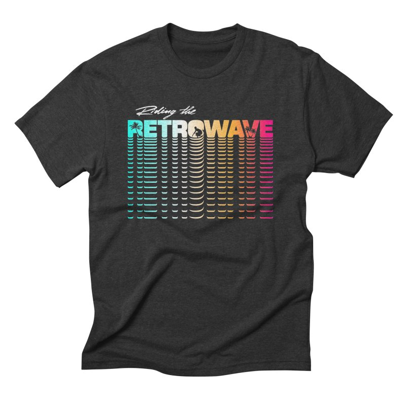 Riding the Retrowave in Men's Triblend T-Shirt Heather Onyx by Rolly Rocket - Retro Futuristic Art