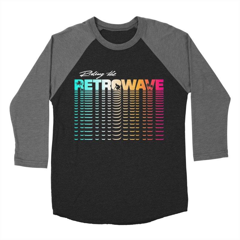 Riding the Retrowave Women's Baseball Triblend T-Shirt by Rolly Rocket - Retro Futuristic Art