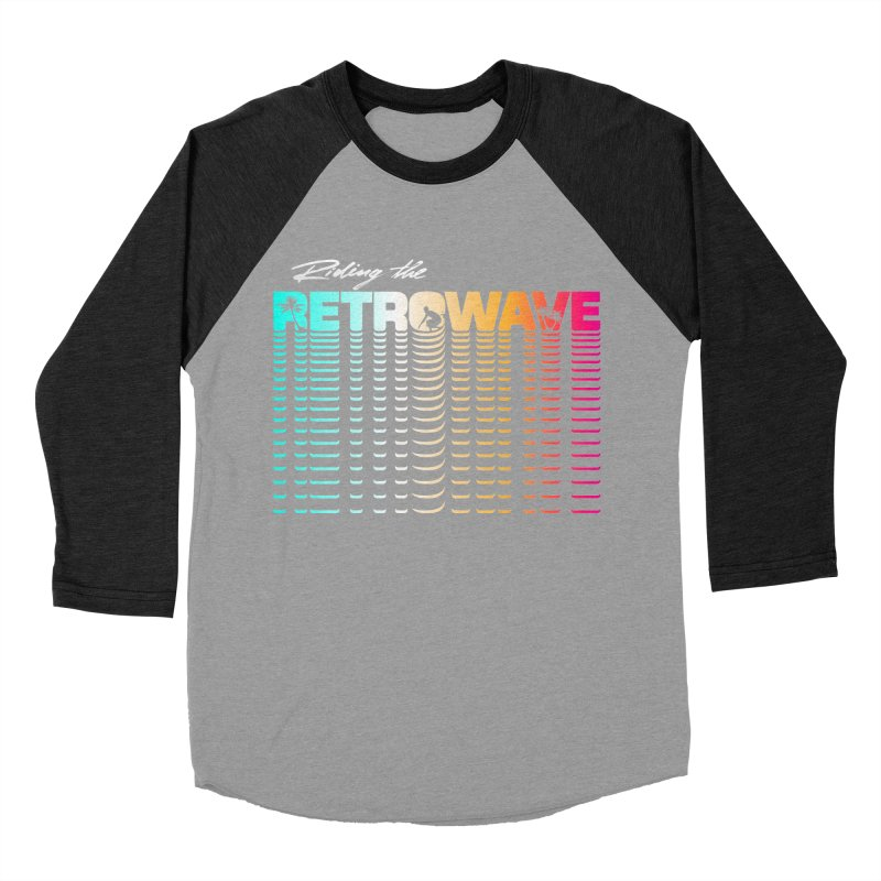Riding the Retrowave Men's Baseball Triblend Longsleeve T-Shirt by Rolly Rocket - Retro Futuristic Art