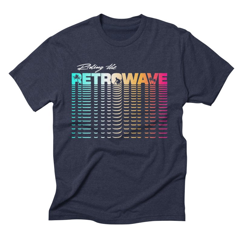 Riding the Retrowave in Men's Triblend T-shirt Navy by Rolly Rocket - Retro Futuristic Art