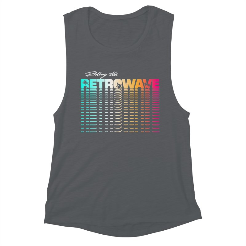 Riding the Retrowave Women's Tank by Rolly Rocket - Retro Futuristic Art