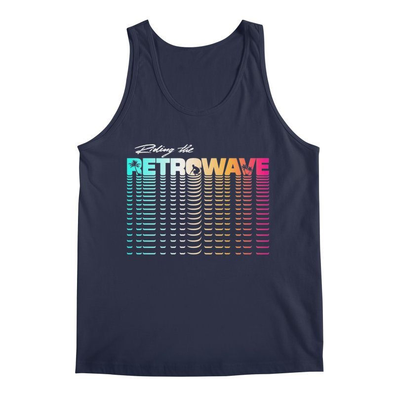Riding the Retrowave Men's Tank by Rolly Rocket - Retro Futuristic Art
