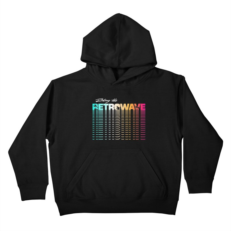 Riding the Retrowave Kids Pullover Hoody by Rolly Rocket - Retro Futuristic Art