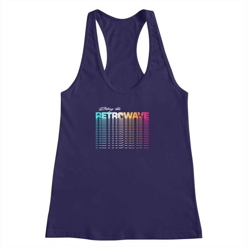 Riding the Retrowave Women's Racerback Tank by Rolly Rocket - Retro Futuristic Art