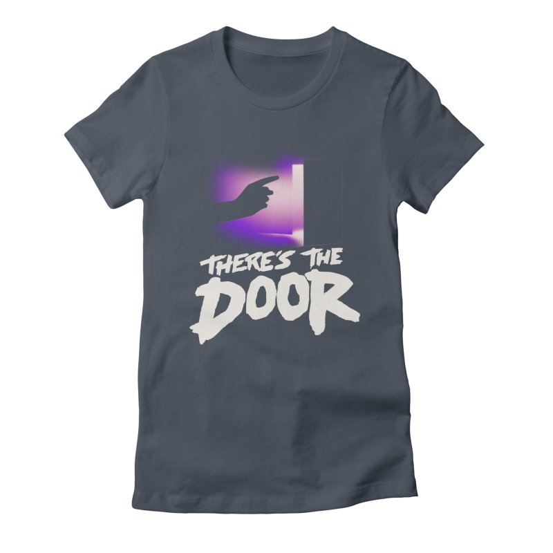 There's the Door Women's Fitted T-Shirt by Rolly Rocket - Retro Futuristic Art