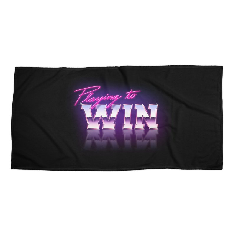 Playing To Win Accessories Beach Towel by Rolly Rocket - Retro Futuristic Art