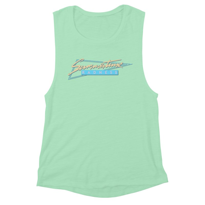 Summertime Radness Women's Muscle Tank by Rolly Rocket - Retro Futuristic Art