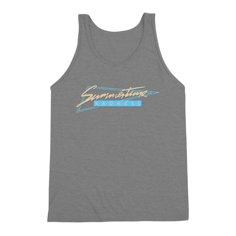 Summertime Radness Men's Triblend Tank by Rolly Rocket - Retro Futuristic Art