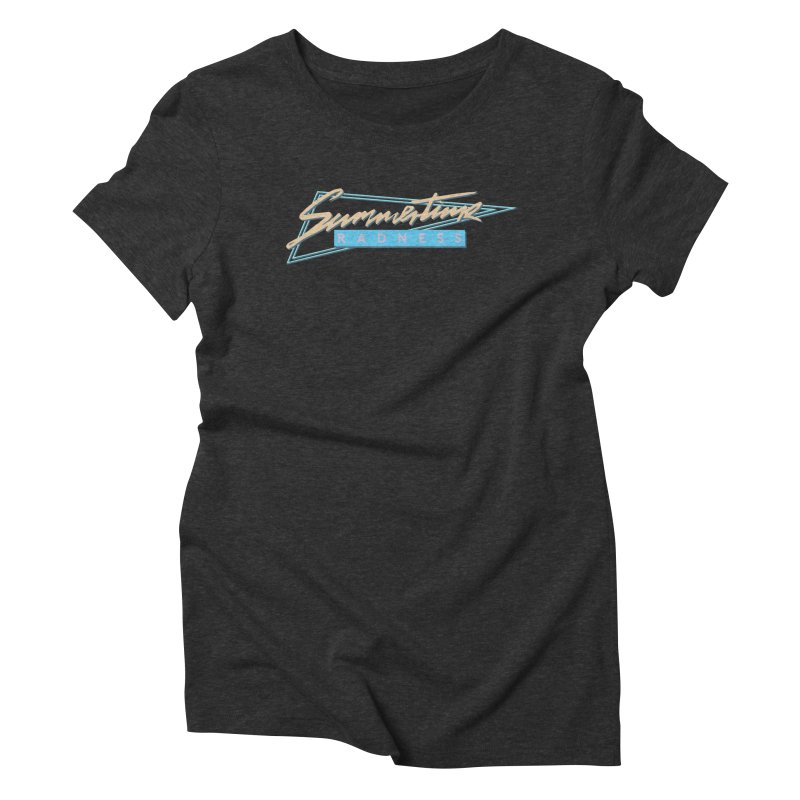 Summertime Radness in Women's Triblend T-Shirt Heather Onyx by Rolly Rocket - Retro Futuristic Art