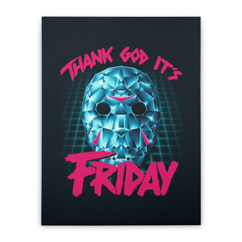 Thank God It's Friday Home Stretched Canvas by Rolly Rocket - Retro Futuristic Art
