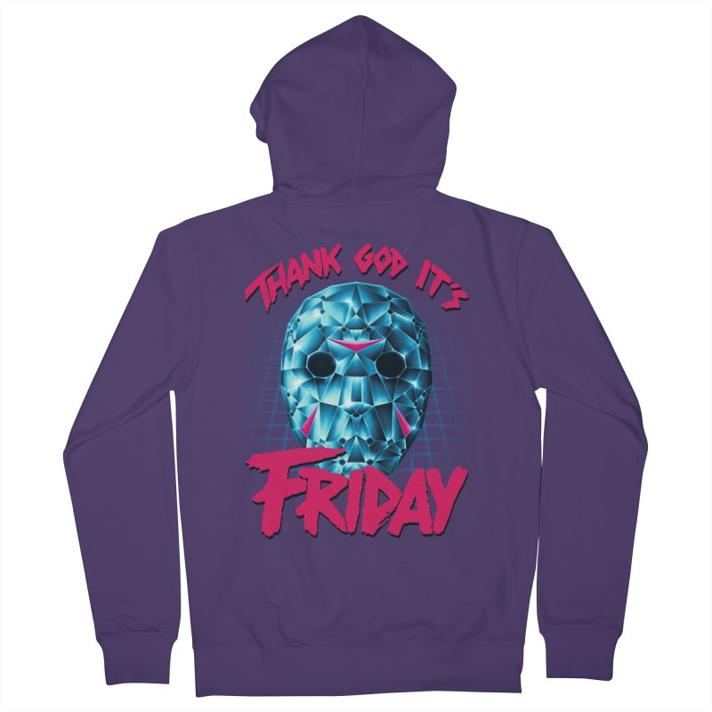 Thank God It's Friday Women's French Terry Zip-Up Hoody by Rolly Rocket - Retro Futuristic Art