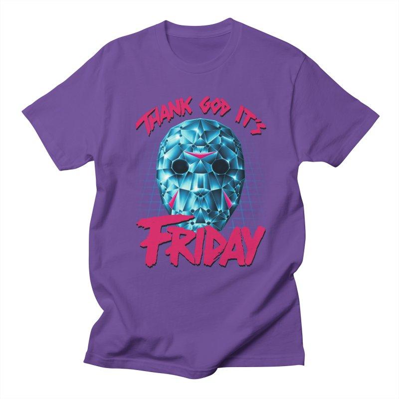 Thank God It's Friday Men's Regular T-Shirt by Rolly Rocket - Retro Futuristic Art