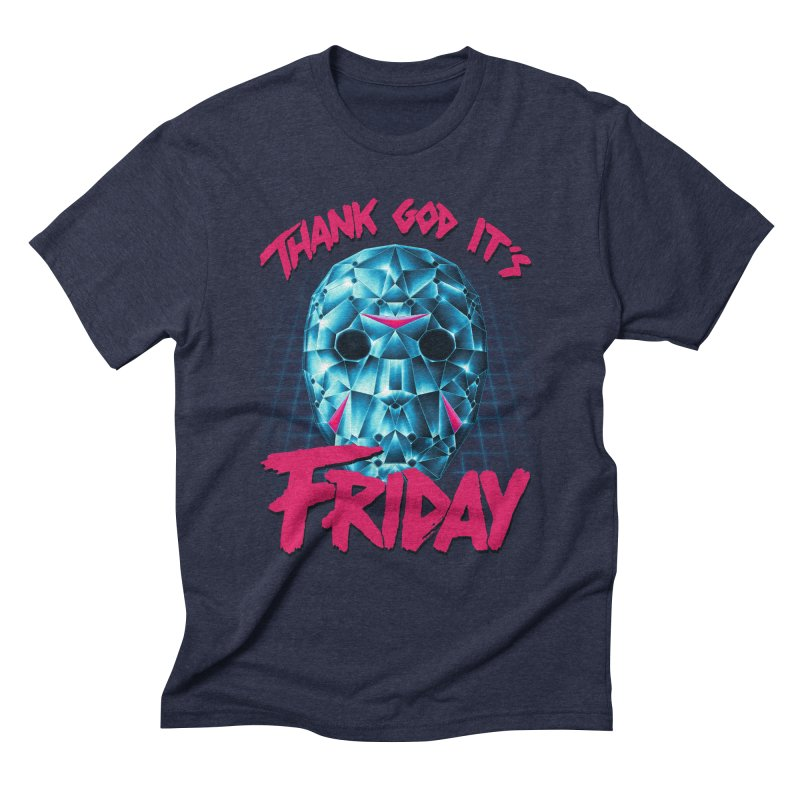 Thank God It's Friday in Men's Triblend T-Shirt Navy by Rolly Rocket - Retro Futuristic Art