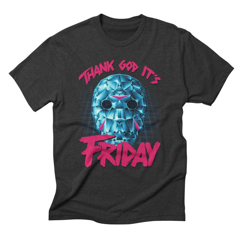 Thank God It's Friday Men's Triblend T-Shirt by Rolly Rocket - Retro Futuristic Art