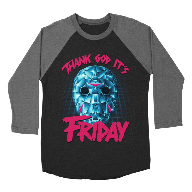 Thank God It's Friday Men's Baseball Triblend Longsleeve T-Shirt by Rolly Rocket - Retro Futuristic Art