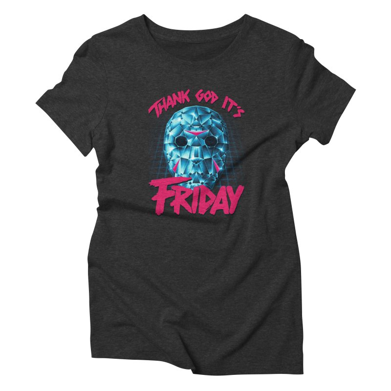 Thank God It's Friday Women's Triblend T-Shirt by Rolly Rocket - Retro Futuristic Art