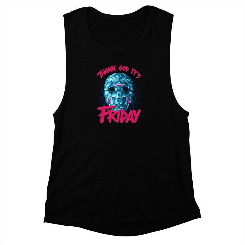 Thank God It's Friday Women's Muscle Tank by Rolly Rocket - Retro Futuristic Art