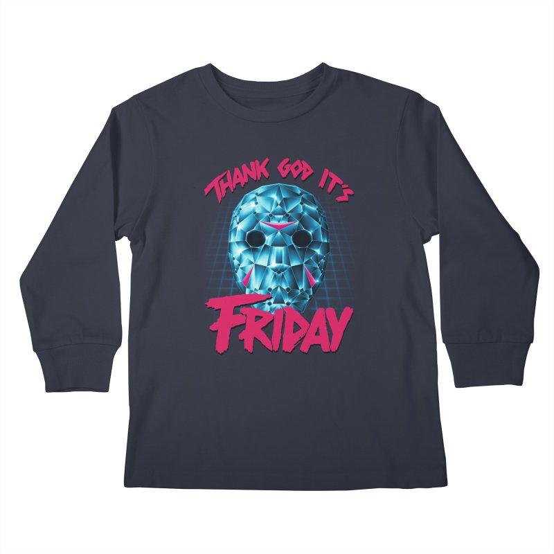 Thank God It's Friday Kids Longsleeve T-Shirt by Rolly Rocket - Retro Futuristic Art