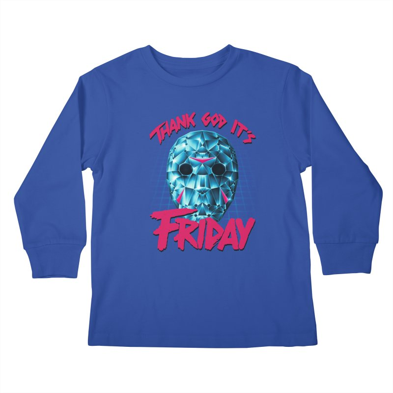 Thank God It's Friday Kids Longsleeve T-Shirt by Rolly Rocket - Retro Futuristic Art
